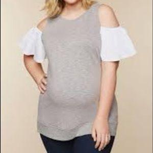 Motherhood plus size cold shoulder top !
